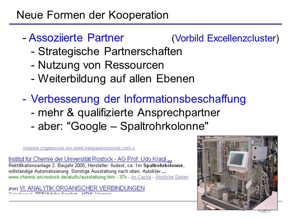 April 09_6 Neue Formen der Kooperation - Assoziierte Partner (Vorbild Excellenzcluster) - Strategische Partnerschaften - Nutzung von Ressourcen - Weiterbildung auf allen Ebenen -Verbesserung der Informationsbeschaffung - mehr & qualifizierte Ansprechpartner - aber: Google – Spaltrohrkolonne