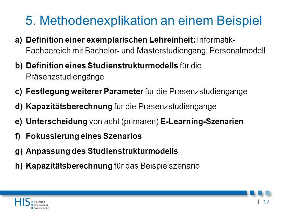 | 12 5. Methodenexplikation an einem Beispiel a)Definition einer exemplarischen Lehreinheit: Informatik- Fachbereich mit Bachelor- und Masterstudienga