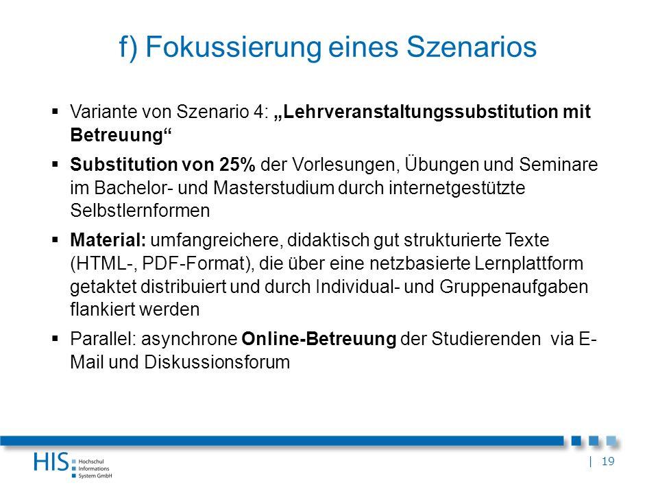 | 19 f) Fokussierung eines Szenarios Variante von Szenario 4: Lehrveranstaltungssubstitution mit Betreuung Substitution von 25% der Vorlesungen, Übung