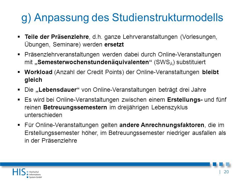 | 20 g) Anpassung des Studienstrukturmodells Teile der Präsenzlehre, d.h. ganze Lehrveranstaltungen (Vorlesungen, Übungen, Seminare) werden ersetzt Pr