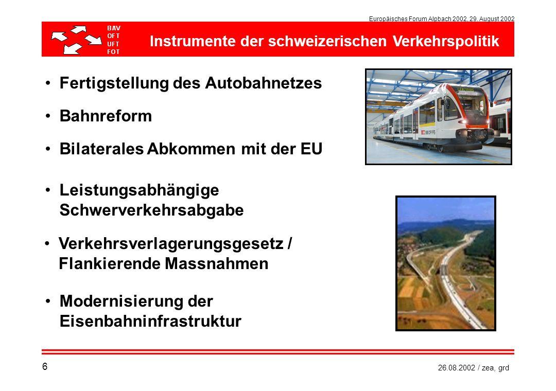 Europäisches Forum Alpbach 2002, 29. August 2002 26.08.2002 / zea, grd Fertigstellung des Autobahnetzes Leistungsabhängige Schwerverkehrsabgabe Bahnre