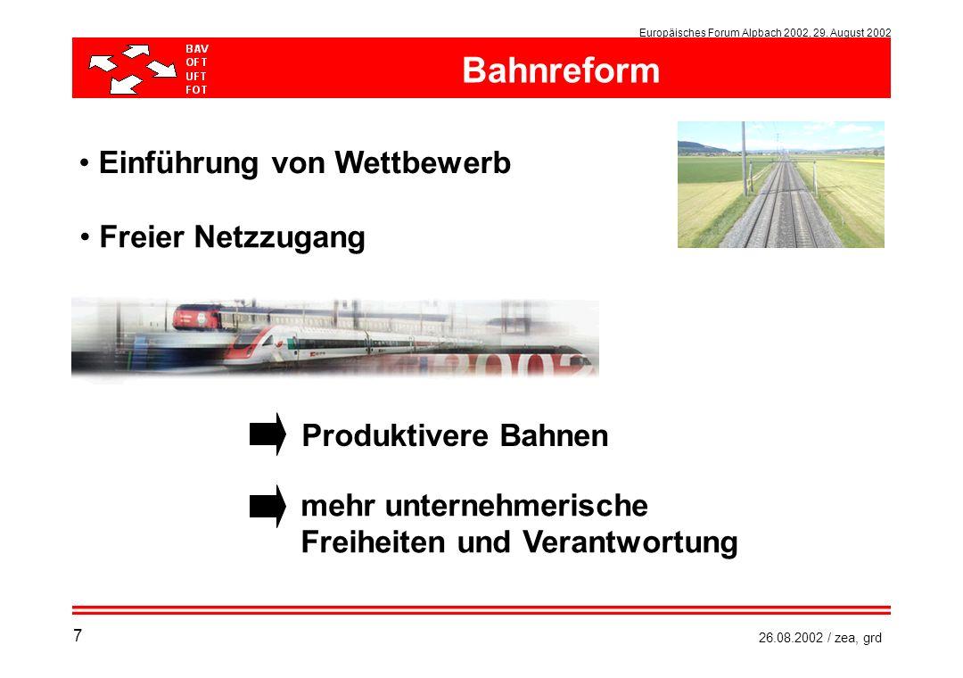 Europäisches Forum Alpbach 2002, 29. August 2002 26.08.2002 / zea, grd Einführung von Wettbewerb Freier Netzzugang Produktivere Bahnen mehr unternehme