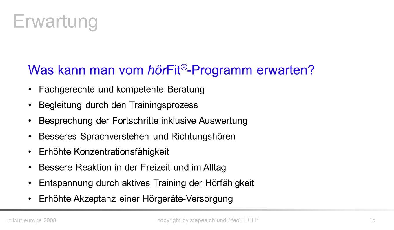 rollout europe 2008 copyright by stapes.ch und MediTECH ® 14 Wann ist ein hörFit ® -Training angezeigt? Sich zu unterhalten strengt Sie an, Sie ermüde