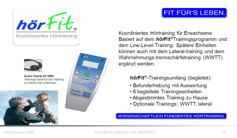 rollout europe 2008 copyright by stapes.ch und MediTECH ® 15 Erwartung Was kann man vom hörFit ® -Programm erwarten? Fachgerechte und kompetente Berat