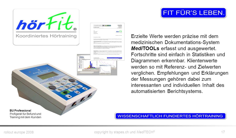 rollout europe 2008 copyright by stapes.ch und MediTECH ® 16 Audio-Trainer AT-3000 Trainings-Gerät für das Training zu Hause oder unterwegs Koordinier