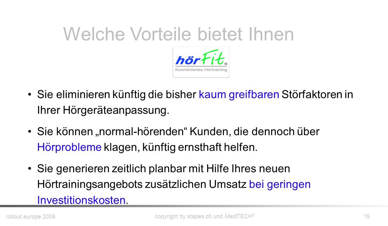 rollout europe 2008 copyright by stapes.ch und MediTECH ® 18 Das geführte Training wird von den hörFit ® - Trainern durchgeführt. Sie erhalten ein nac
