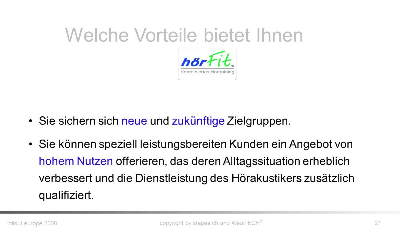 rollout europe 2008 copyright by stapes.ch und MediTECH ® 20 Welche Vorteile bietet Ihnen Sie analysieren die Zentrale Hörverarbeitung Ihres Klienten