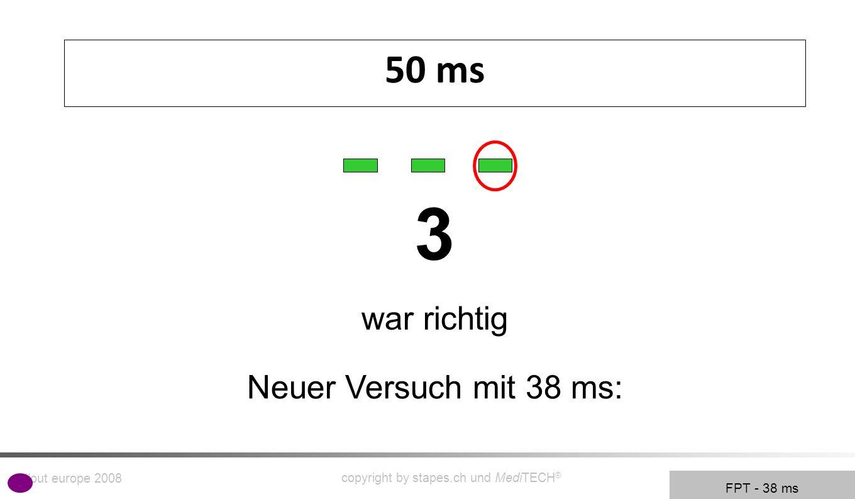rollout europe 2008 copyright by stapes.ch und MediTECH ® 6 Frequenz-Muster-Test Testet und trainiert die Fähigkeit im laufenden Sprachfluß zu segmentieren um Sprachzusammen-hänge zu erkennen.