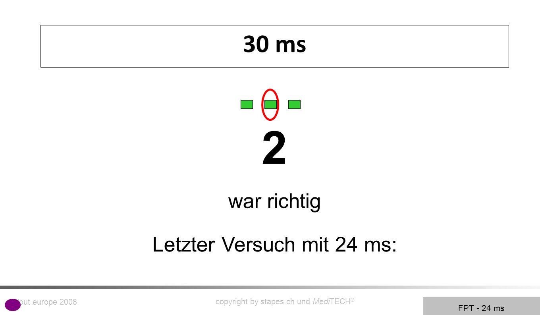 rollout europe 2008 copyright by stapes.ch und MediTECH ® 9 30 ms FPT - 24 ms 2 war richtig Letzter Versuch mit 24 ms: