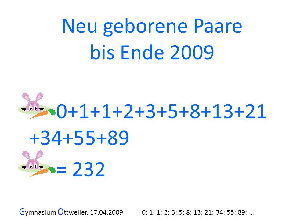 G ymnasium O ttweiler, 17.04.2009 0; 1; 1; 2; 3; 5; 8; 13; 21; 34; 55; 89; … 0+1+1+2+3+5+8+13+21 +34+55+89 = 232 Neu geborene Paare bis Ende 2009