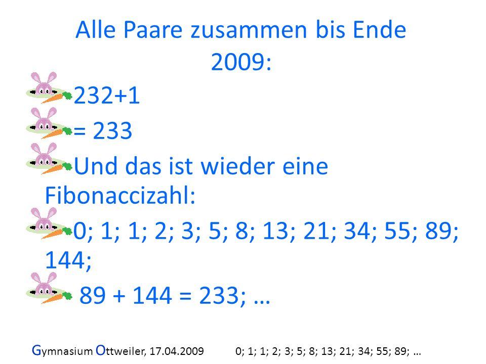 G ymnasium O ttweiler, 17.04.2009 0; 1; 1; 2; 3; 5; 8; 13; 21; 34; 55; 89; … 232+1 = 233 Und das ist wieder eine Fibonaccizahl: 0; 1; 1; 2; 3; 5; 8; 1