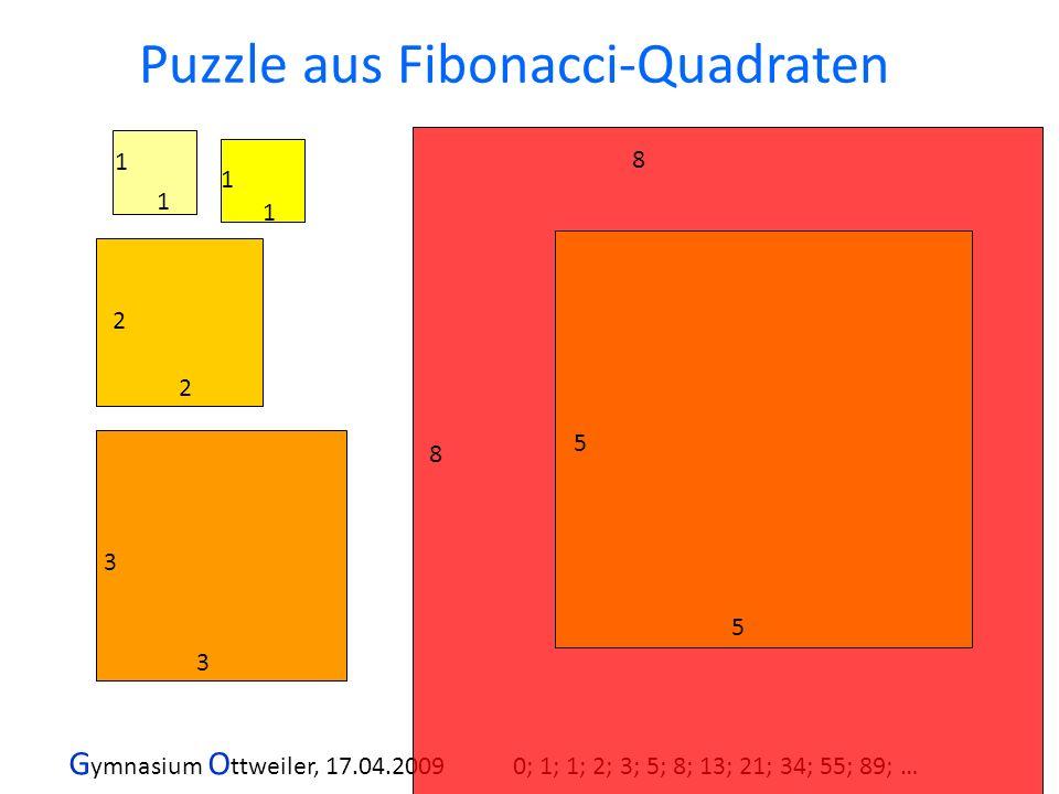 G ymnasium O ttweiler, 17.04.2009 0; 1; 1; 2; 3; 5; 8; 13; 21; 34; 55; 89; … 5 5 8 8 1 1 1 1 2 2 3 3 Puzzle aus Fibonacci-Quadraten