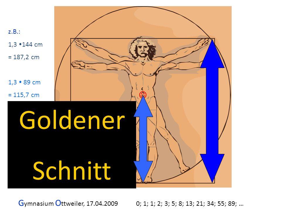 G ymnasium O ttweiler, 17.04.2009 0; 1; 1; 2; 3; 5; 8; 13; 21; 34; 55; 89; … Goldener Schnitt z.B.: 1,3 144 cm = 187,2 cm 1,3 89 cm = 115,7 cm