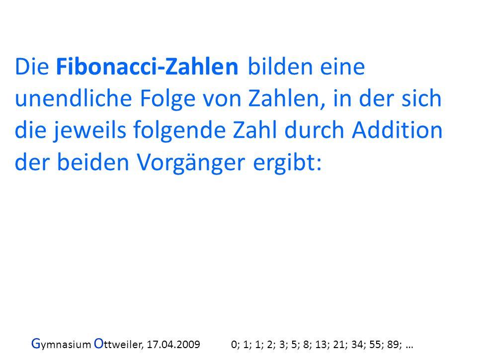 G ymnasium O ttweiler, 17.04.2009 0; 1; 1; 2; 3; 5; 8; 13; 21; 34; 55; 89; … 232+1 = 233 Und das ist wieder eine Fibonaccizahl: 0; 1; 1; 2; 3; 5; 8; 13; 21; 34; 55; 89; 144; 89 + 144 = 233; … Alle Paare zusammen bis Ende 2009: