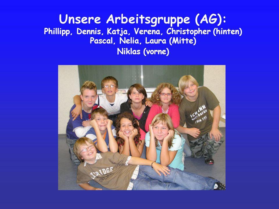 Unsere Arbeitsgruppe (AG): Phillipp, Dennis, Katja, Verena, Christopher (hinten) Pascal, Nelia, Laura (Mitte) Niklas (vorne)