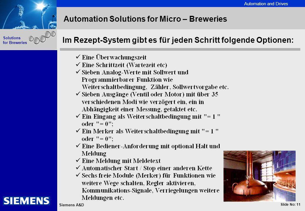 Automation and Drives Slide No: 11 Siemens A&D Solutions for Breweries Automation Solutions for Micro – Breweries Im Rezept-System gibt es für jeden S