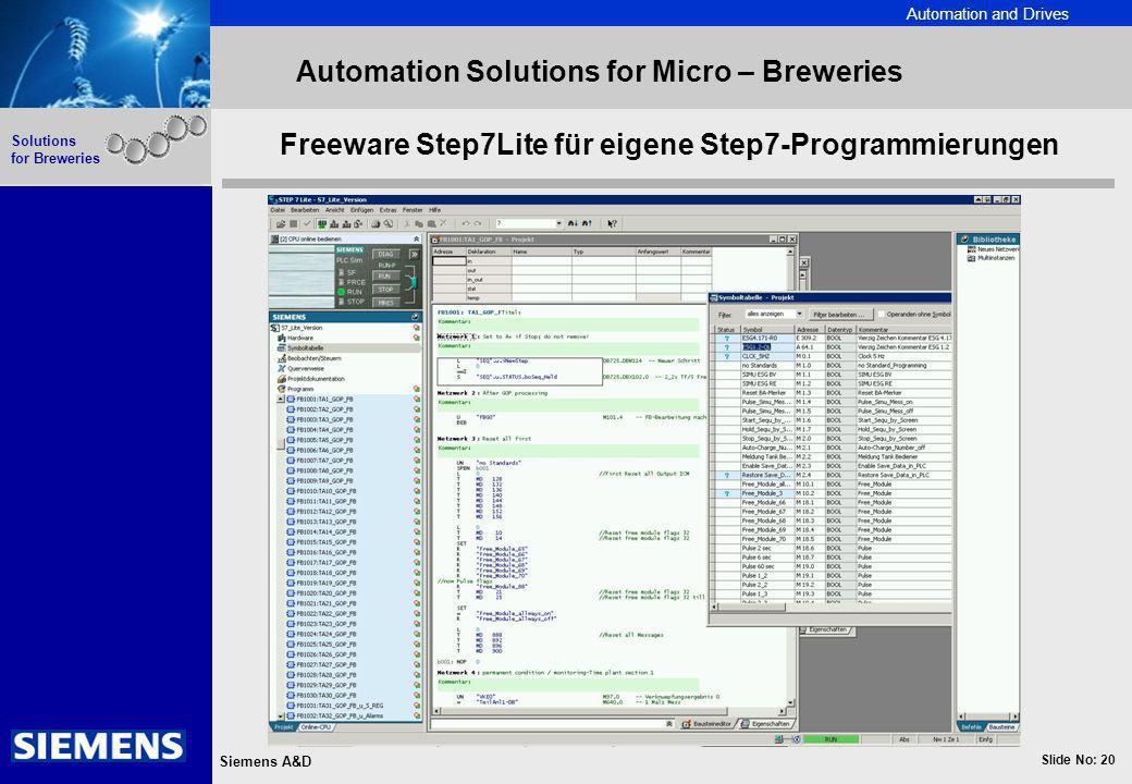 Automation and Drives Slide No: 20 Siemens A&D Solutions for Breweries Automation Solutions for Micro – Breweries Freeware Step7Lite für eigene Step7-