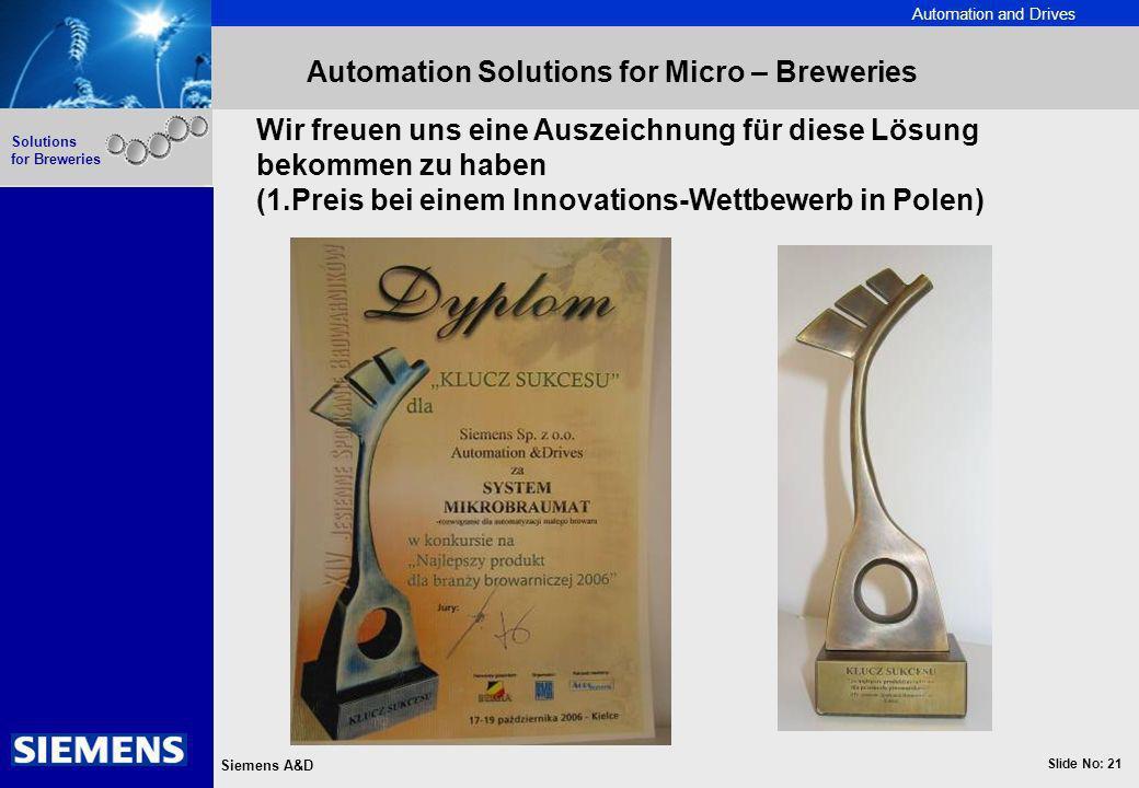 Automation and Drives Slide No: 21 Siemens A&D Solutions for Breweries Automation Solutions for Micro – Breweries Wir freuen uns eine Auszeichnung für