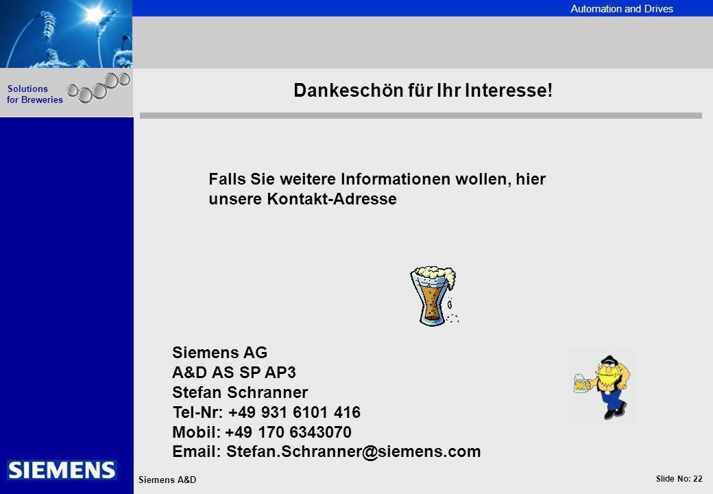 Automation and Drives Slide No: 22 Siemens A&D Solutions for Breweries Falls Sie weitere Informationen wollen, hier unsere Kontakt-Adresse Dankeschön