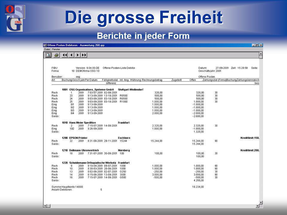 OSG 24 verschiedene Wege zum Ziel: –Standard-Berichte –parametergesteuerte Berichte Business Objects –freie Berichte mit Business Objects –mit Copy + Paste nach Excel –mit Tools über ODBC-Schnittstelle Die grosse Freiheit Berichte in jeder Form