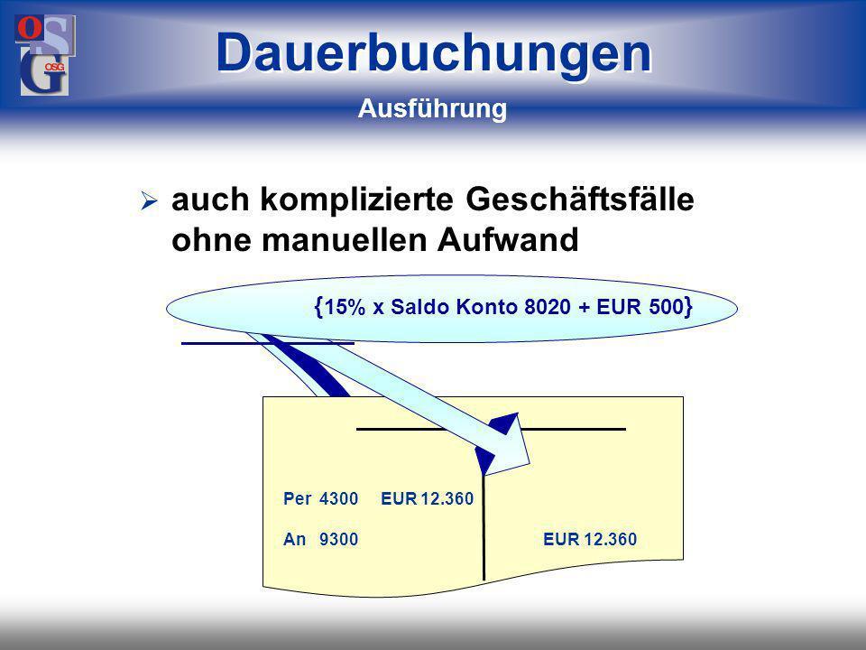 OSG 48 mit Rechenformel, basierend auf: –Konstanten –festen Beträgen –Salden Journal { (30% x Saldo Konto 8030) + (15% x Saldo Konto 8020) + EUR 500 } 2 Dauerbuchungen Einrichtung