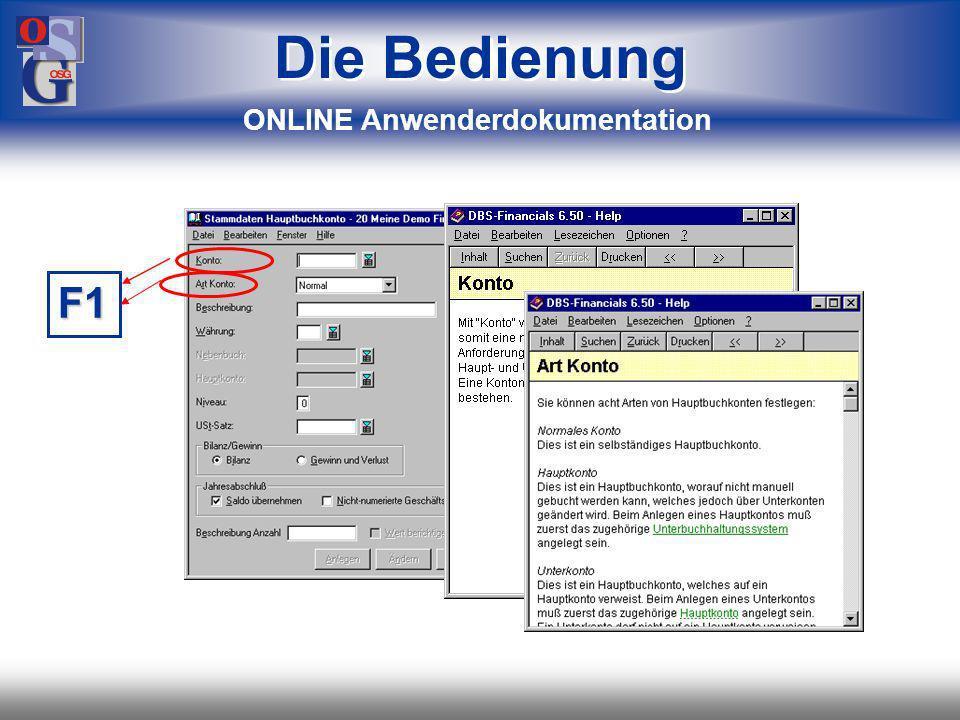 OSG 8 F1 Die Bedienung ONLINE Anwenderdokumentation