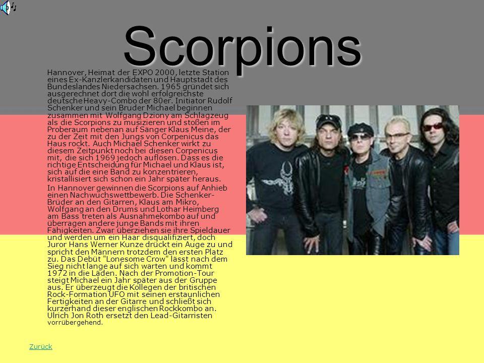 Scorpions Hannover, Heimat der EXPO 2000, letzte Station eines Ex-Kanzlerkandidaten und Hauptstadt des Bundeslandes Niedersachsen.