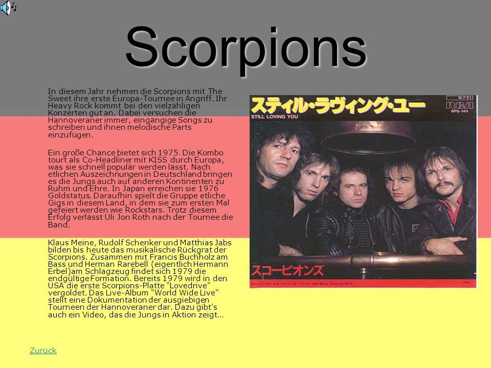 Scorpions In diesem Jahr nehmen die Scorpions mit The Sweet ihre erste Europa-Tournee in Angriff.