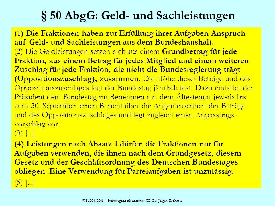 WS 2004/2005 - Staatsorganisationsrecht - PD Dr. Jürgen Bröhmer § 50 AbgG: Geld- und Sachleistungen (1) Die Fraktionen haben zur Erfüllung ihrer Aufga