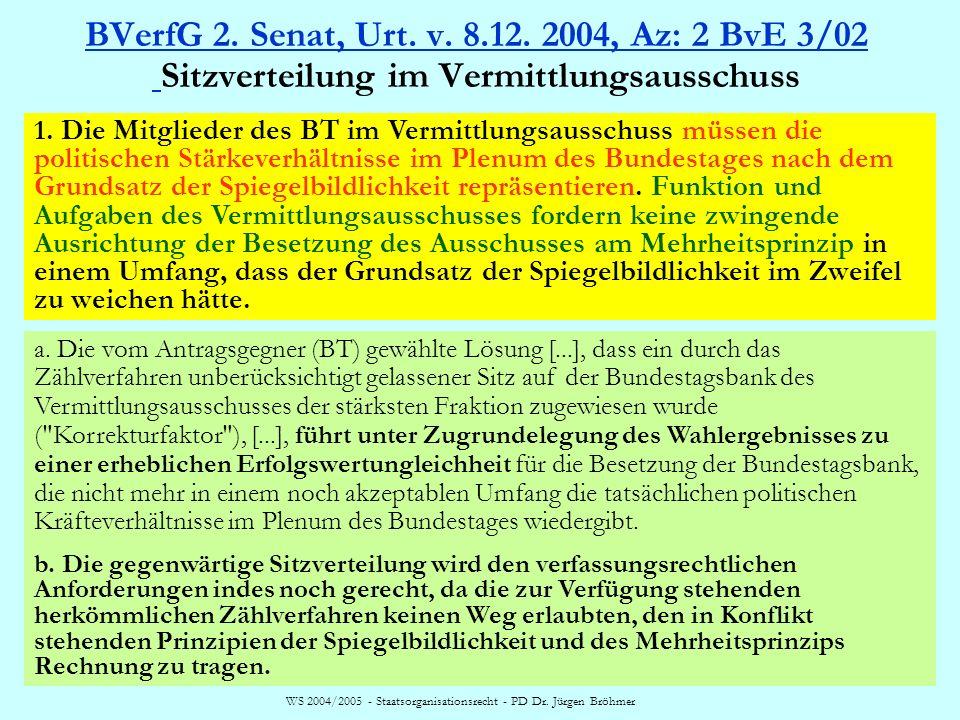 WS 2004/2005 - Staatsorganisationsrecht - PD Dr. Jürgen Bröhmer BVerfG 2. Senat, Urt. v. 8.12. 2004, Az: 2 BvE 3/02 BVerfG 2. Senat, Urt. v. 8.12. 200