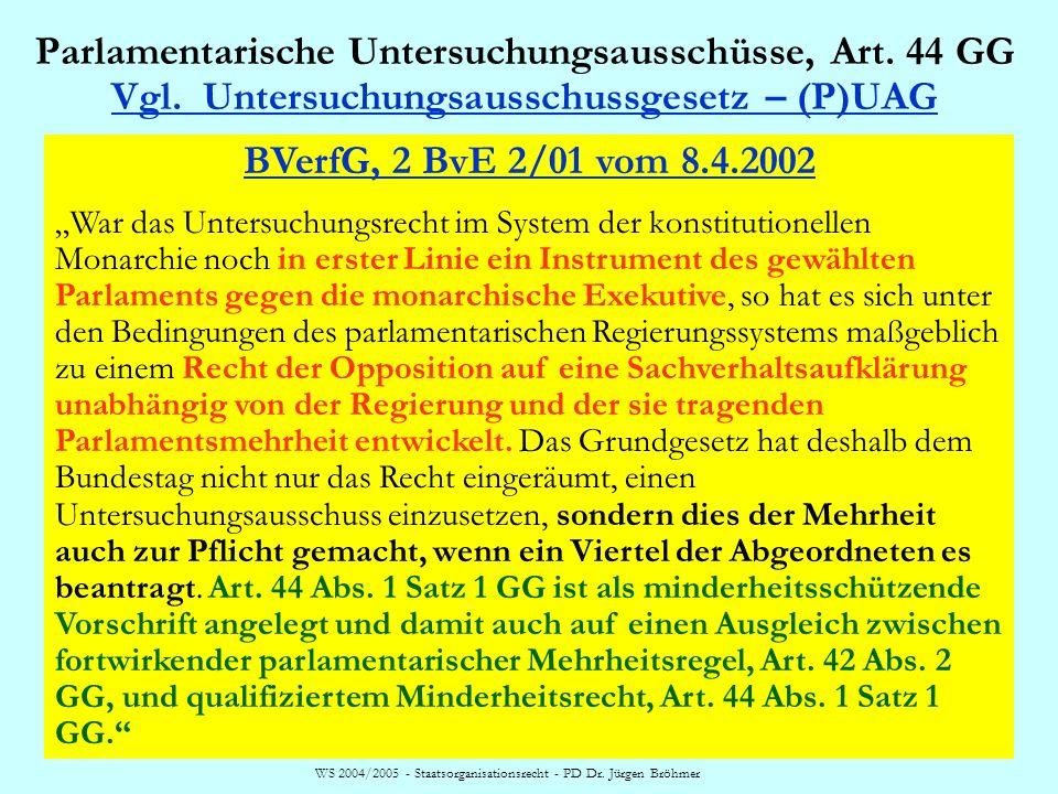 WS 2004/2005 - Staatsorganisationsrecht - PD Dr. Jürgen Bröhmer Parlamentarische Untersuchungsausschüsse, Art. 44 GG Vgl. Untersuchungsausschussgesetz