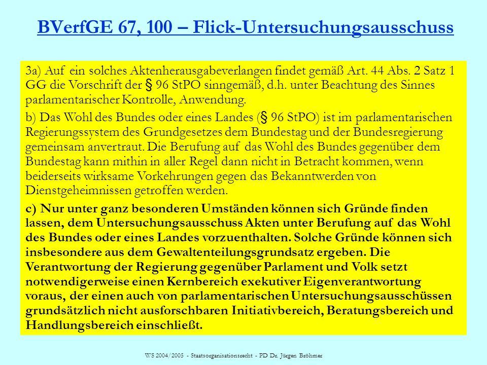 WS 2004/2005 - Staatsorganisationsrecht - PD Dr. Jürgen Bröhmer BVerfGE 67, 100 – Flick-Untersuchungsausschuss 3a) Auf ein solches Aktenherausgabeverl