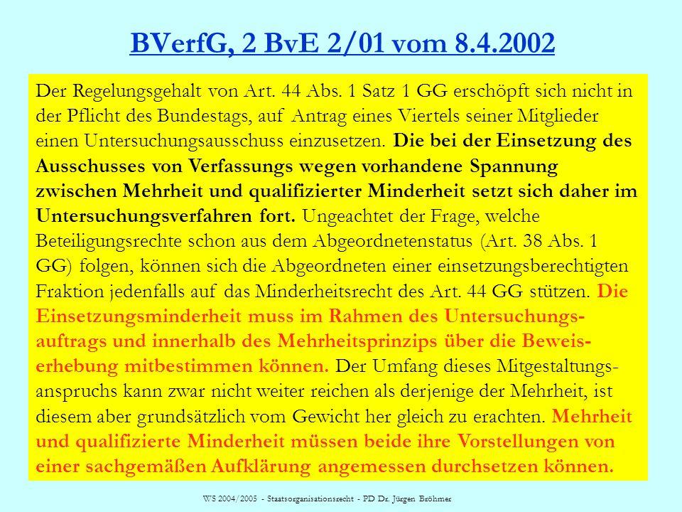 WS 2004/2005 - Staatsorganisationsrecht - PD Dr. Jürgen Bröhmer BVerfG, 2 BvE 2/01 vom 8.4.2002 Der Regelungsgehalt von Art. 44 Abs. 1 Satz 1 GG ersch