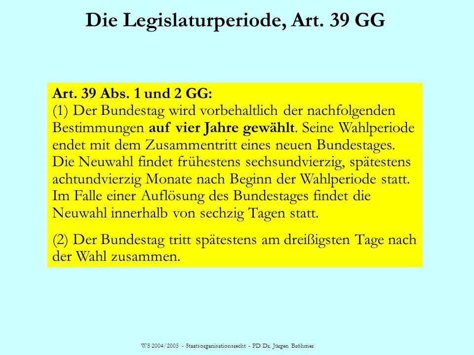 WS 2004/2005 - Staatsorganisationsrecht - PD Dr. Jürgen Bröhmer Die Legislaturperiode, Art. 39 GG Art. 39 Abs. 1 und 2 GG: (1) Der Bundestag wird vorb