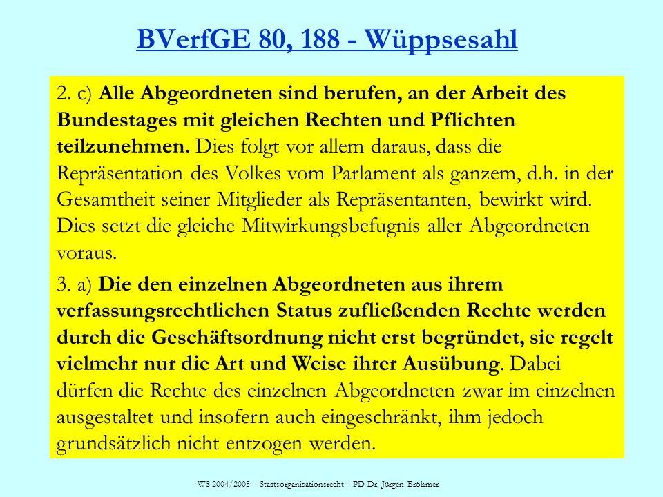 WS 2004/2005 - Staatsorganisationsrecht - PD Dr. Jürgen Bröhmer BVerfGE 80, 188 - Wüppsesahl 2. c) Alle Abgeordneten sind berufen, an der Arbeit des B