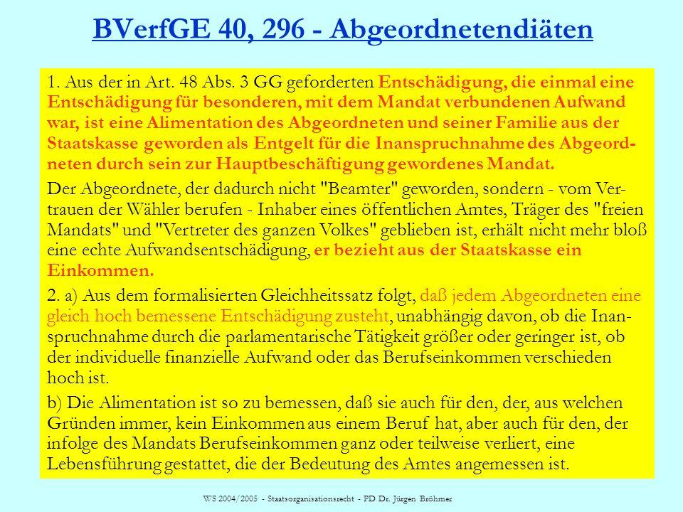 WS 2004/2005 - Staatsorganisationsrecht - PD Dr. Jürgen Bröhmer BVerfGE 40, 296 - Abgeordnetendiäten 1. Aus der in Art. 48 Abs. 3 GG geforderten Entsc