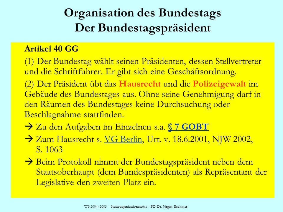 WS 2004/2005 - Staatsorganisationsrecht - PD Dr. Jürgen Bröhmer Organisation des Bundestags Der Bundestagspräsident Artikel 40 GG (1) Der Bundestag wä