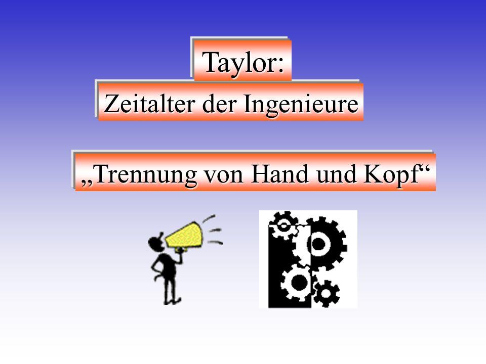 Trennung von Hand und Kopf Zeitalter der Ingenieure Taylor: