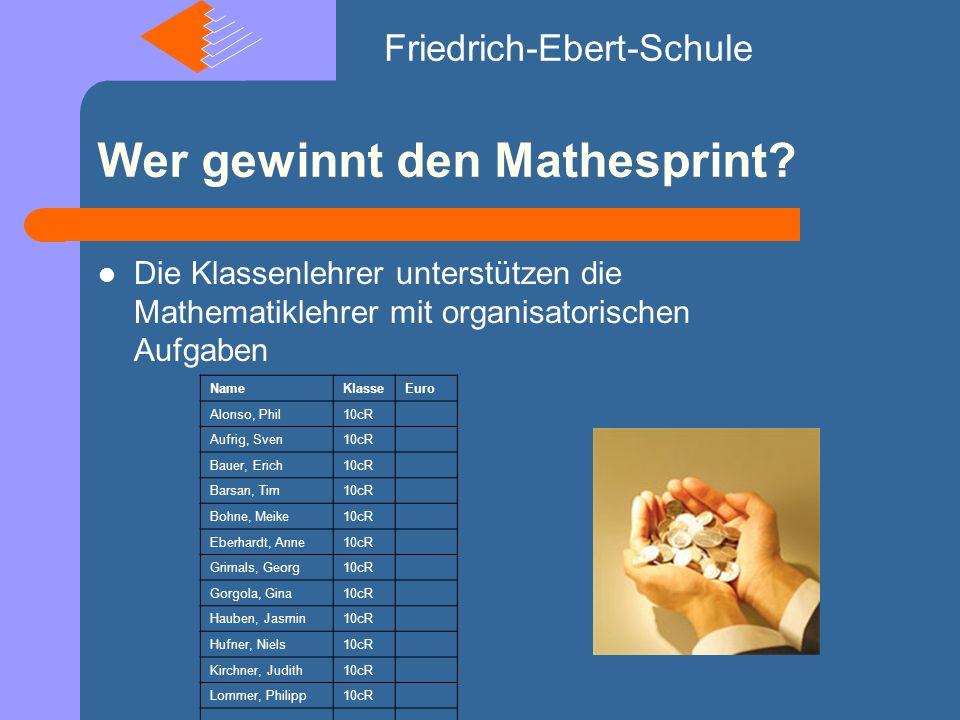 Wer gewinnt den Mathesprint.