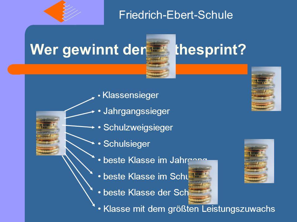 Wer gewinnt den Mathesprint.Friedrich-Ebert-Schule Interesse.