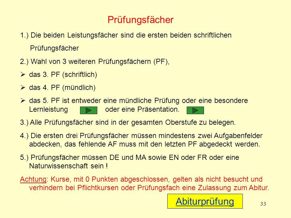 33 1.) Die beiden Leistungsfächer sind die ersten beiden schriftlichen Prüfungsfächer 2.) Wahl von 3 weiteren Prüfungsfächern (PF), das 3.