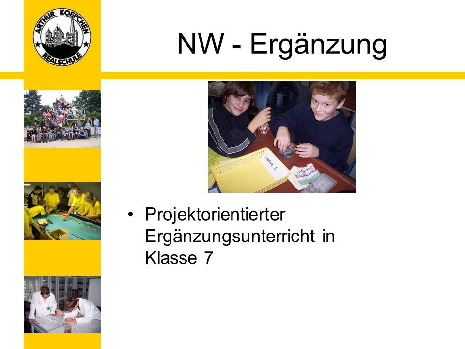 NW - Ergänzung Projektorientierter Ergänzungsunterricht in Klasse 7