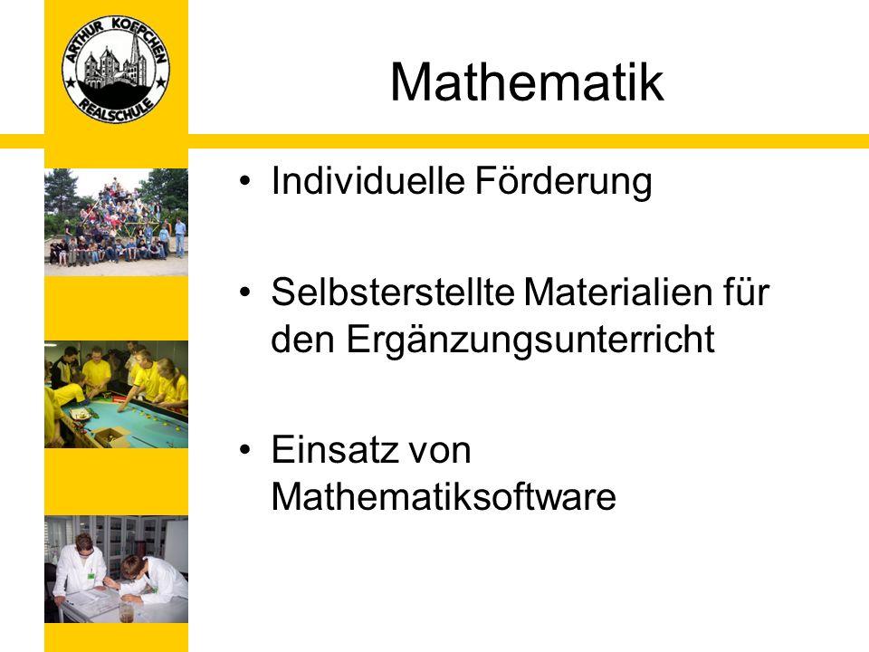 Mathematik Individuelle Förderung Selbsterstellte Materialien für den Ergänzungsunterricht Einsatz von Mathematiksoftware