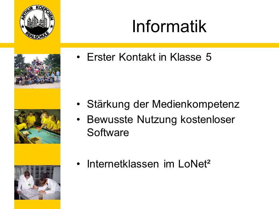 Informatik Erster Kontakt in Klasse 5 Stärkung der Medienkompetenz Bewusste Nutzung kostenloser Software Internetklassen im LoNet²