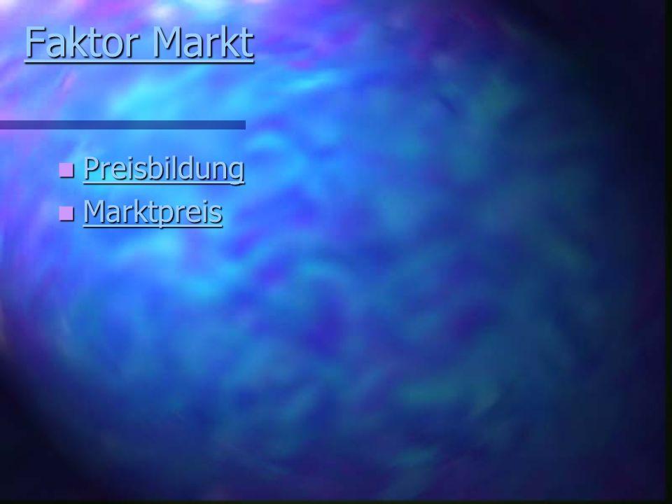 Faktor Markt Faktor Markt Preisbildung Preisbildung Preisbildung Marktpreis Marktpreis Marktpreis
