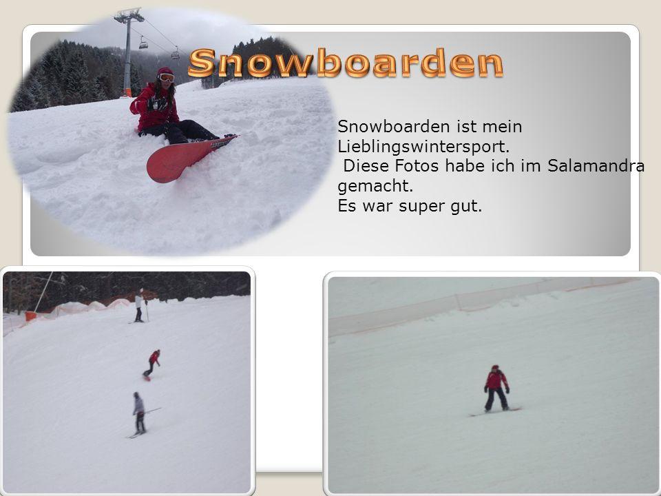 Snowboarden ist mein Lieblingswintersport. Diese Fotos habe ich im Salamandra gemacht. Es war super gut.