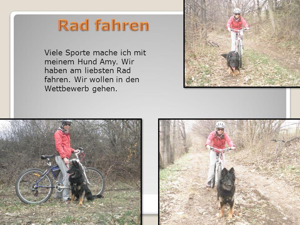 Viele Sporte mache ich mit meinem Hund Amy. Wir haben am liebsten Rad fahren.