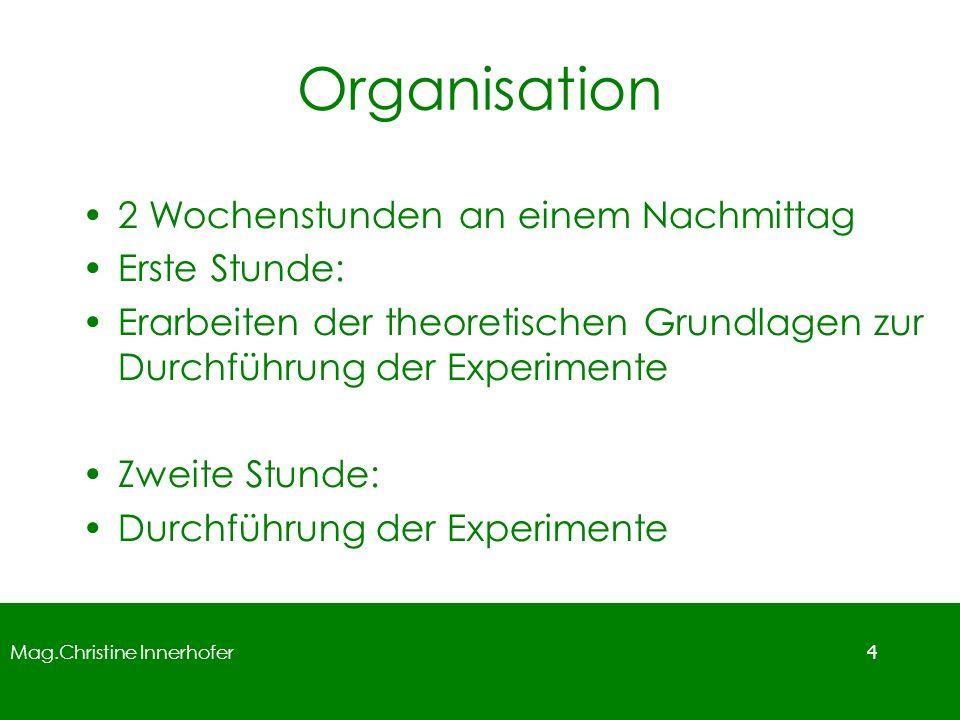 Mag.Christine Innerhofer 4 2 Wochenstunden an einem Nachmittag Erste Stunde: Erarbeiten der theoretischen Grundlagen zur Durchführung der Experimente