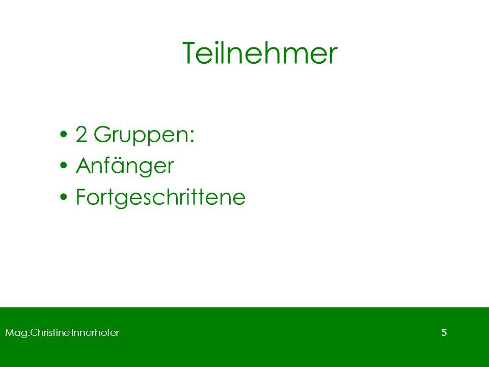 Mag.Christine Innerhofer 6 Aufbau Schulwettbewerb: April Landeswettbewerb: Mai Bundeswettbewerb: Juni Internationaler Wettbewerb: Juli