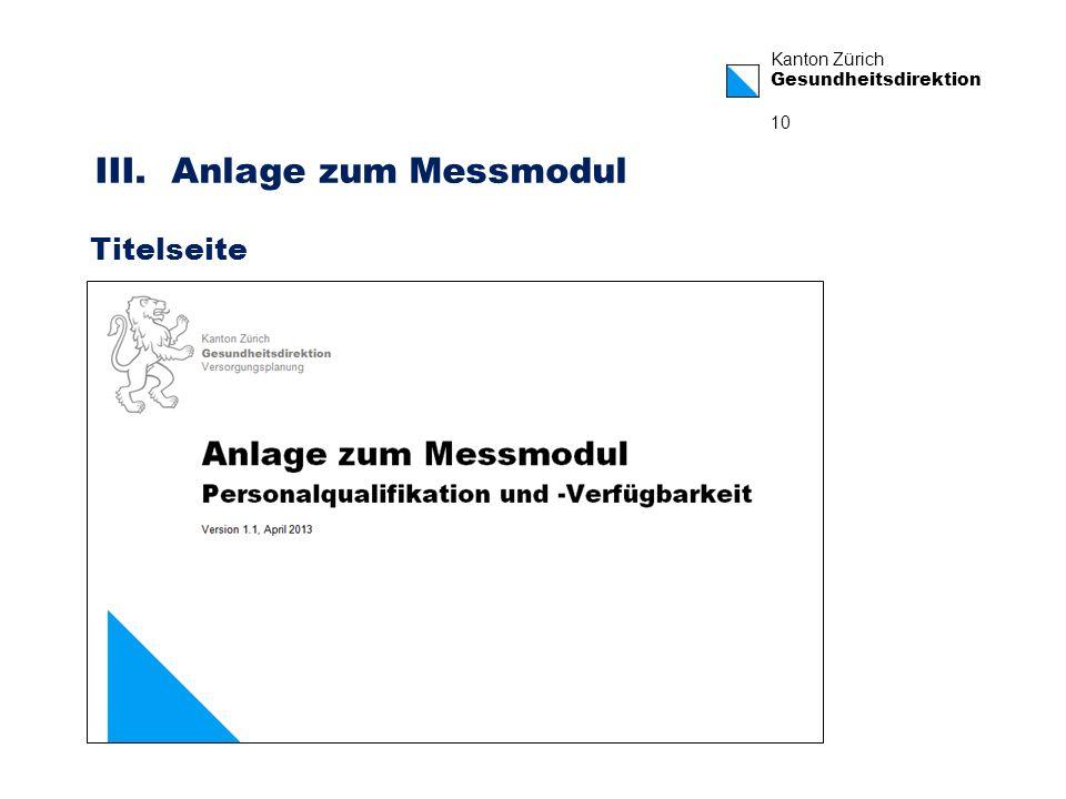 Kanton Zürich Gesundheitsdirektion 10 III. Anlage zum Messmodul Titelseite